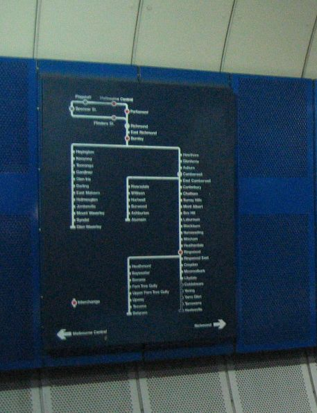 Burnley Group network map at Parliament station