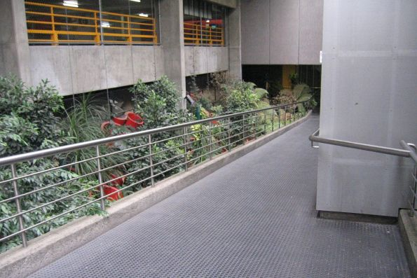 Ramp from La Trobe Street down to the office level of Melbourne Central station