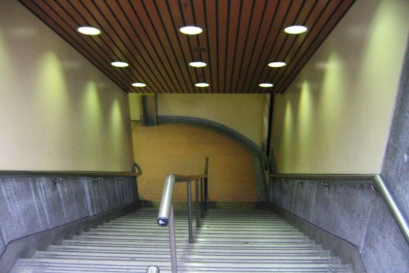 Descending the northern staircase into Flagstaff station from La Trobe Street