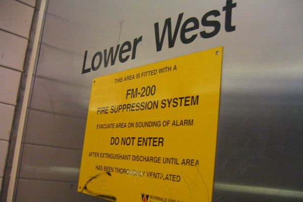 'Lower West' equipment cupboard at Flagstaff station, fitted with a FM-200 fire suppression system (heptafluoropropane gas)