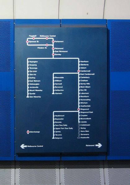 Burnley loop map, at Parliament Station