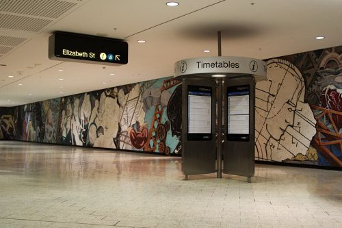 Mural on the wall of the Elizabeth Street concourse of Melbourne Central