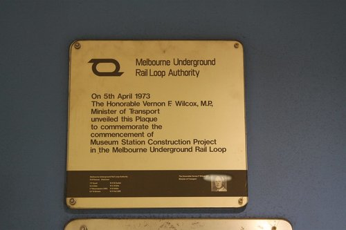 MURLA plaque marking the commencing of construction at Museum Station, April 5 1973