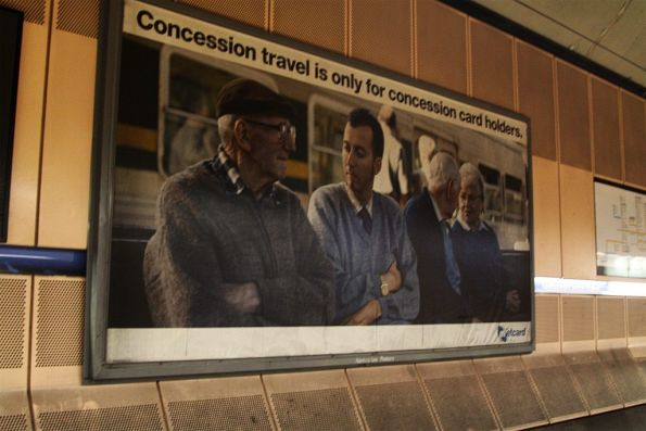 'Concession travel is only for concession card holders' poster at Melbourne Central (I think it's a decade old now?)