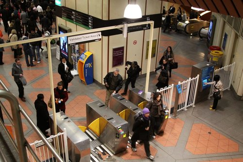The quiet ticket barriers at Flagstaff, during morning peak
