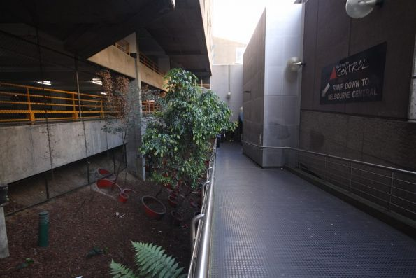 Ramp from ground level on La Trobe Street, leading to the upper level of the underground concourse at Melbourne Central station