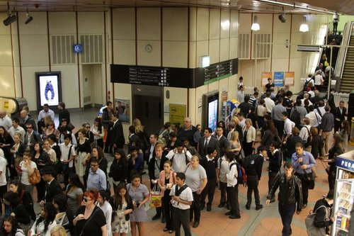 Commuters queued up trying to exit Flagstaff station