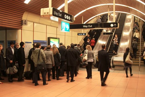 Morning queue for the escalators at Flagstaff platform 3 and 4