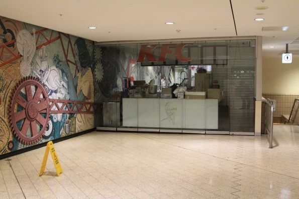 Abandoned KFC service window facing into the paid area at Melbourne Central Station