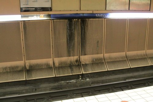 Crud getting washed down the tunnel walls at Melbourne Central platform 4