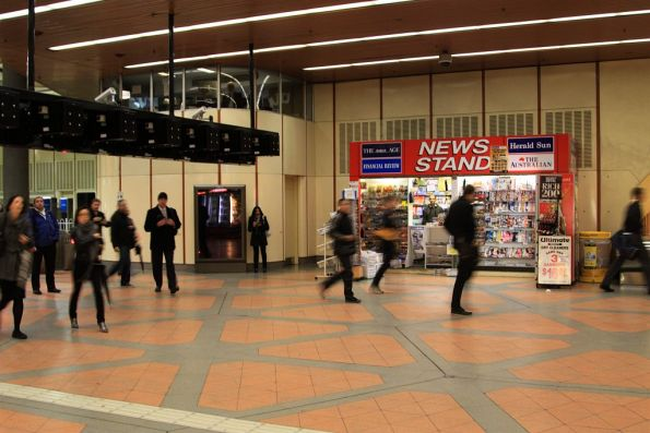 News stand on the western wall of the Flagstaff station concourse