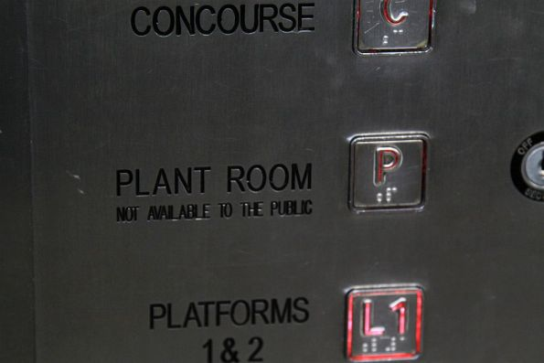 'Plant Room' option in the lift at Flagstaff Station