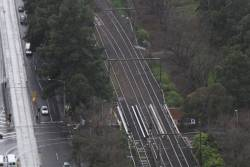 Trio of bridges pass over Jolimont Road on the tracks outside Jolimont station