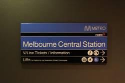 Directions to the V/Line ticket office at Melbourne Central Station, but no mention of suburban tickets