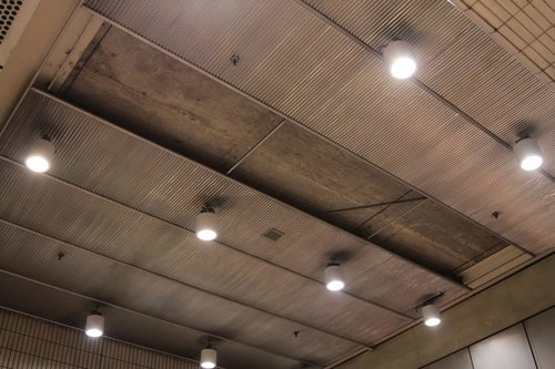 Missing ceiling cladding panels at Melbourne Central station