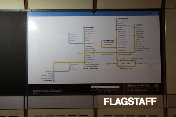 New PTV branded network map at Flagstaff station platform 3