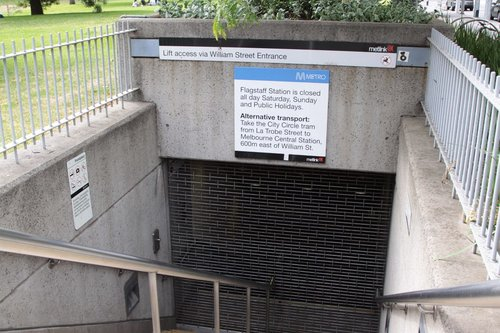 Flagstaff Gardens entrance to Flagstaff station closed for the weekend