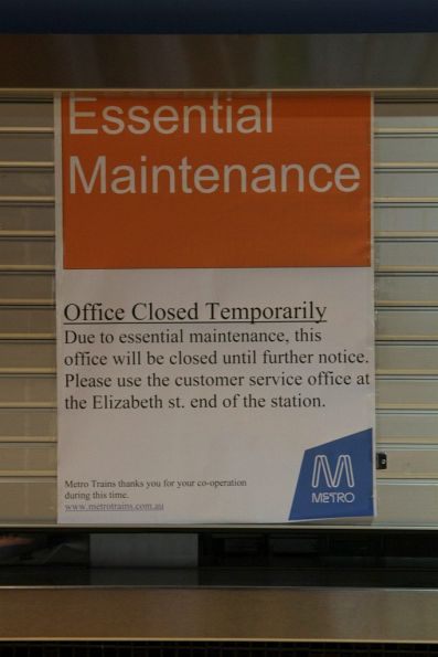Booking office at Melbourne Central closed for 'essential maintenance'