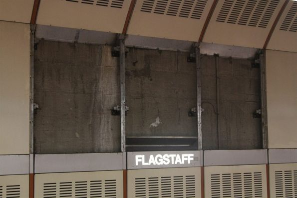 Wall panels removed opposite platform 3 at Flagstaff station