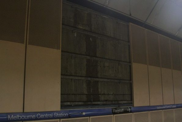 Wall panels removed opposite platform 3 at Melbourne Central station