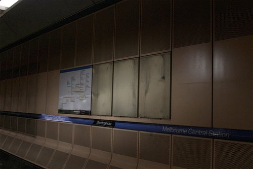 The ancient advert for 'Pipeworks Fun Market' finally removed from platform 3 at Melbourne Central station