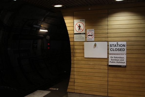 'STATION CLOSED' sign incorrectly displayed at Flagstaff station on a weekday