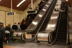 Single escalator out of service during morning peak at the western end of Flagstaff station
