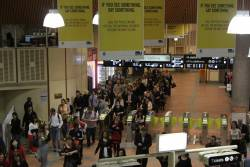 Four myki gates set to 'entry only' at Flagstaff station in morning peak, leading to long queues