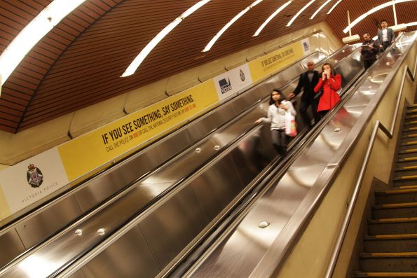 'If you see something, say something' scaremongering along the escalators at Flagstaff station