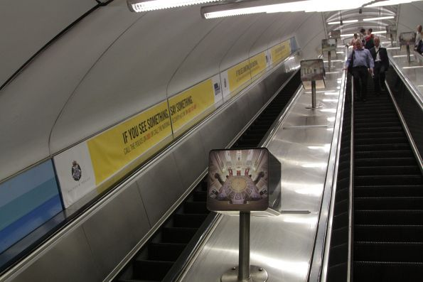 'If you see something, say something' scaremongering beside the escalators at Parliament station