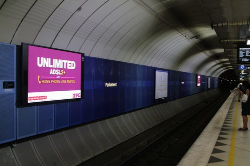 LED advertising screens also installed at Parliament station