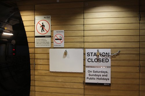 Left over from the weekend - 'STATION CLOSED' sign incorrectly displayed at Flagstaff station on Monday morning