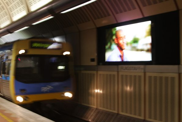 Another defective LED advertising screen - they are supposed to switch off before the train arrives