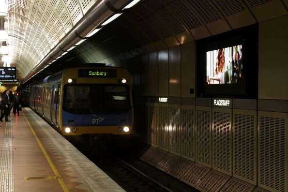LED advertising screen at Flagstaff station still failing to turn off for the arrival of trains