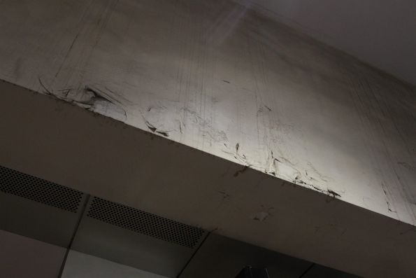 Peeling paint on the ceiling at Melbourne Central station