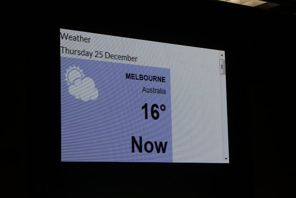 Current weather displayed on the XTD advertising screens at Melbourne Central