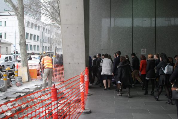 Footpath works block the main exit from Flagstaff station during morning peak