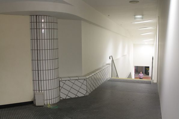 Rebuilt steps to the station offices on the mezzanine floor at Melbourne Central