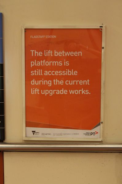 'The lift between platforms is still accessible' notice at Flagstaff station