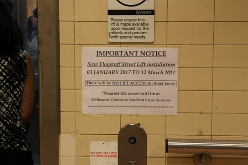 Notice of lift upgrade works at Flagstaff station