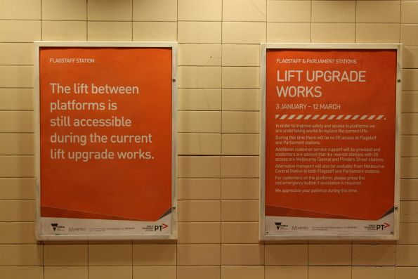 Notice of lift upgrade works at Flagstaff and Parliament stations