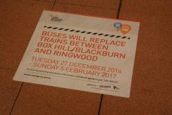 'Buses will replace trains between Box Hill/Blackburn and Ringwood' sign at Flagstaff station