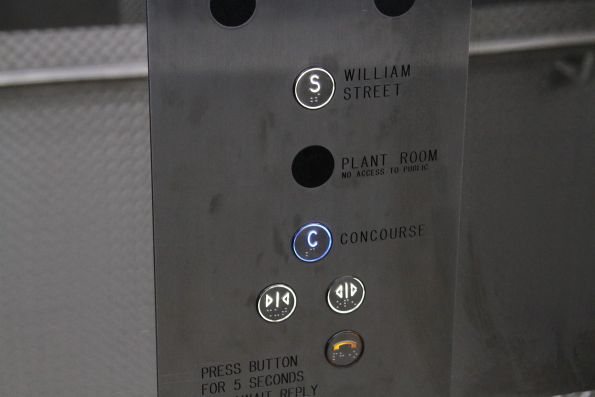 Greyed out 'plant room' option in the new lift at Flagstaff station