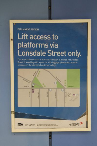 'Lift access to platforms via Lonsdale Street only' notice at Parliament station