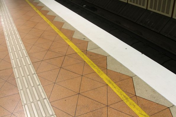 Repainted platform edge at Flagstaff station