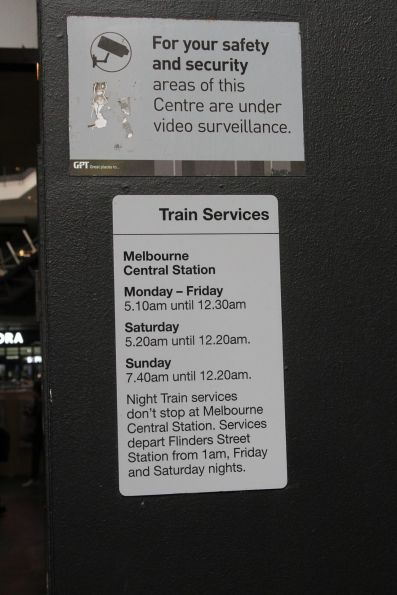 Opening hours at Melbourne Central station