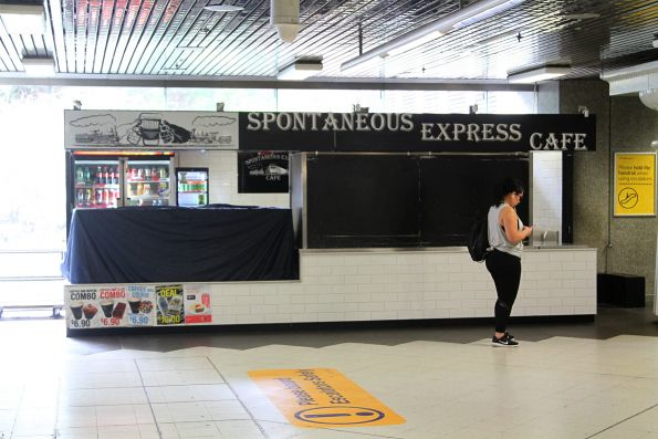 'Spontaneous Express Cafe' at the Collins Street end of Parliament station