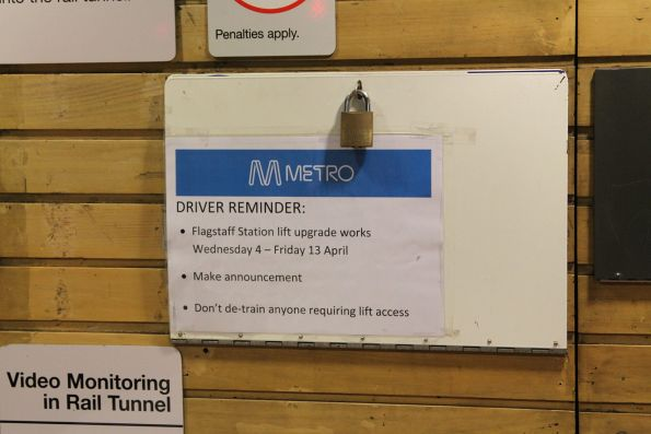'Driver reminder' notice at Flagstaff station due to lift works