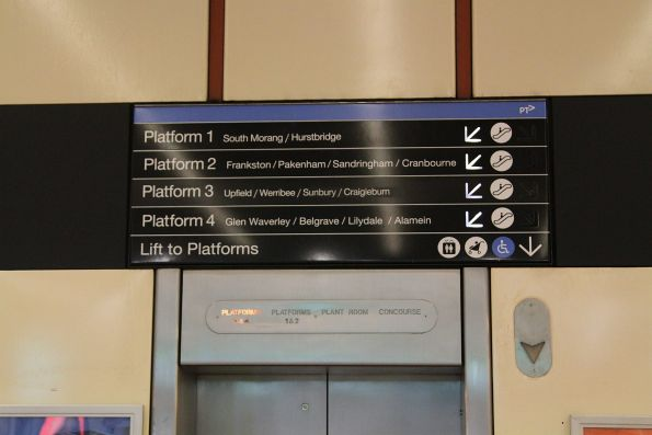 Illuminated directional signage at Flagstaff station