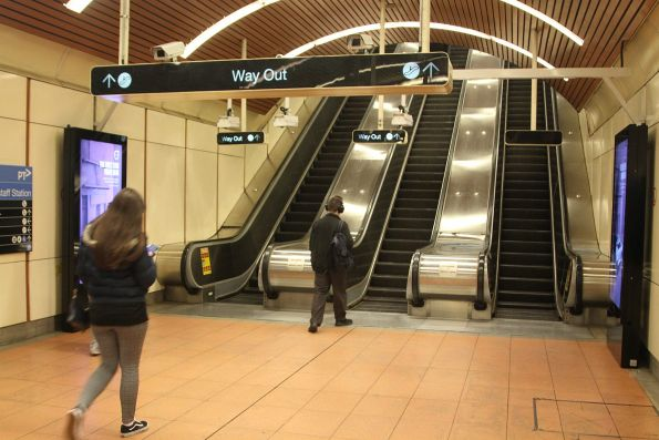 Escalators up to concourse level at Flagstaff station
